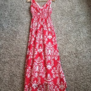 Red/White Maxi Dress-XS